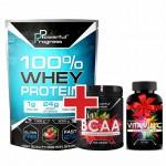 Акція Powerful Progress - Whey Protein 1кг/Amino BCAA 2-1-1 - 500 г + Vitamin C - 90 табл в подарунок